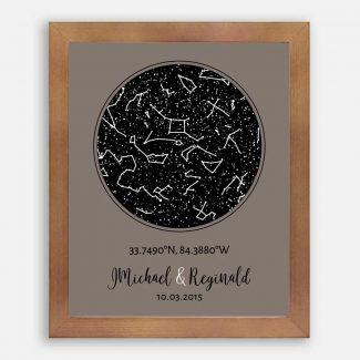 9 Year Anniversary, Custom Star Map, Constellation , Bronze Gift, Night Sky Print, 9th Wedding Anniversary, Astrology, Star Chart #1738