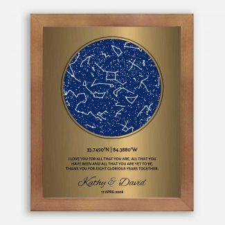 8 Year Anniversary, Custom Star Map,