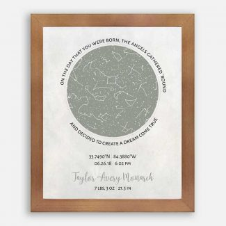Birth Announcement, Custom Star Map, Constellation