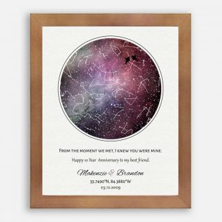 Best Friend Anniversary, Custom Star Map,