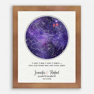 6 Year Anniversary Gift, Amethyst Gift, Purple Anniversary, Custom Star Map, Night Sky Print, Wedding Constellation, Astrology Chart #1754