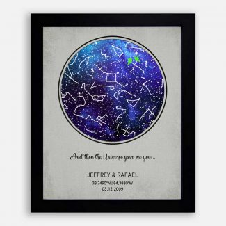 Anniversary Gift for Couple, Sapphire, Custom Star Map, Constellation , Night Sky Print, Wedding Gift, Astrology Gift, Star Chart #1755