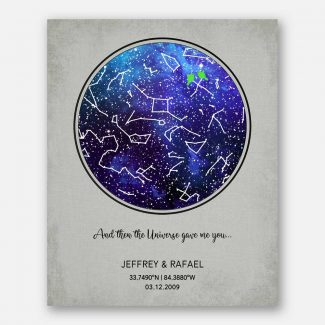 Anniversary Gift for Couple, Sapphire, Custom Star Map, Constellation , Night Sky Print, Wedding Gift, Astrology Gift, Star Chart #1755