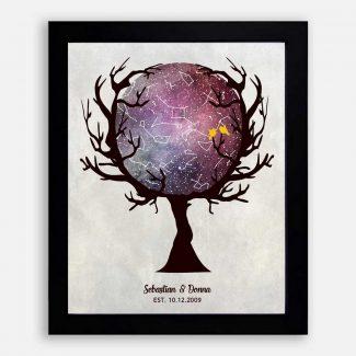 Wiccan Wedding Anniversary, Custom Star Map in Tree, Constellation , Night Sky Print, Anniversary Gift, Astrology Gift, Star Chart #1757