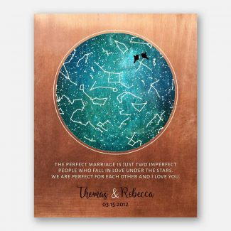 7 Year Anniversary, Custom Star Map, Perfect Marriage, Constellation , Copper Turquoise, Night Sky Print, Astrology Gift, Star Chart #1759