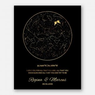 50 Year Anniversary, Custom Star Map, Black and Gold, Golden Anniversary, Constellation , Night Sky Print, Wedding Gift, Astrology #1760