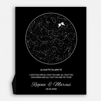 10 Year Anniversary, Custom Star Map,