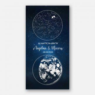 Star Map, Moon Phase, Nursery Decor,