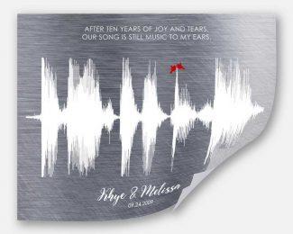 Sound Wave, 10 Year Anniversary Gift,