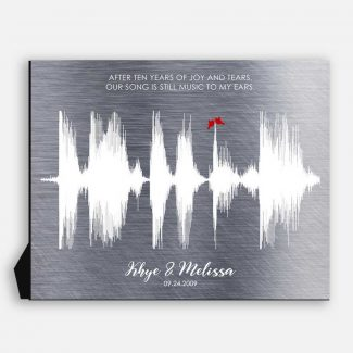 Sound Wave, 10 Year Anniversary Gift,