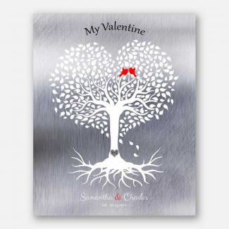 10 Year Anniversary, Valentine, Personalized, Heart Shaped Tree, Silver Anniversary #1813