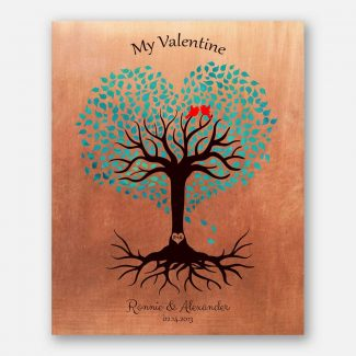 7 Year Anniversary, Valentine, Copper Anniversary, Personalized, Heart Shaped Tree, Turquoise #1814