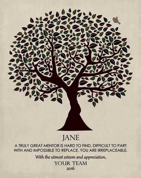 Mentor Work Colleague Gift Boss Principal Confidant Tree of Life – Personalized for Marcie