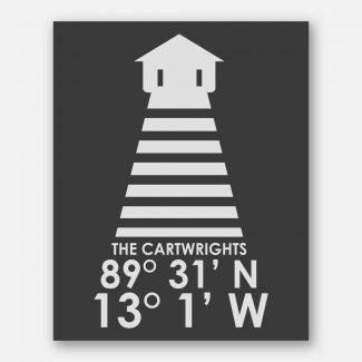 Single Lighthouse Longitude Latitude Wall Art