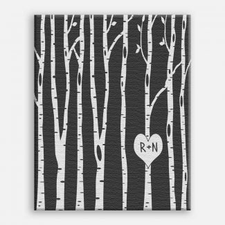 Bare Birch Trees With Carved Heart