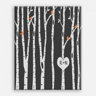 Birch Trees With Birdies And Carved