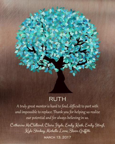 Mentor Gift Faux Bronze Turquoise Tree Gift – Personalized for Michelle