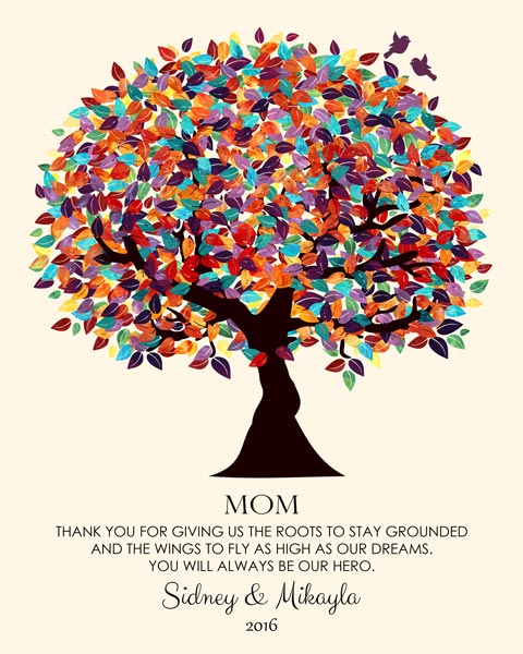Gift For Mother Christmas Present For Mum Spring Tree Custom Art Print – Personalized for Mikayla