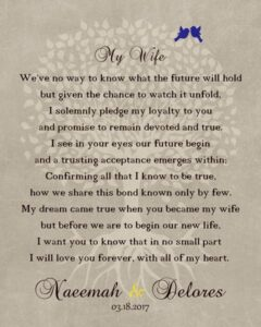 Wedding Day Bride Pledge From Husband Love Poem Family Tree Gift – Personalized For Naeemah