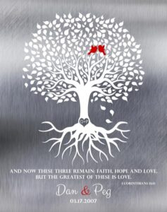 Read more about the article Spring Wedding Tree 1 Corinthians 13:13 Shiny Tin Background Lovebirds Ten Year Anniversary Gift – Personalized For Peg