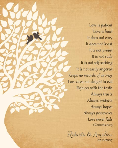 Wedding Anniversary 1 Corinthians 13 First Second Tenth Family Tree – Personalized For Reuben