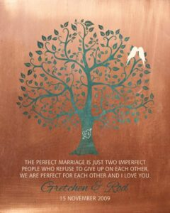 7 Year Anniversary Faux Copper Turquoise Wedding Tree Custom Metal Art Print – Personalized for Rod
