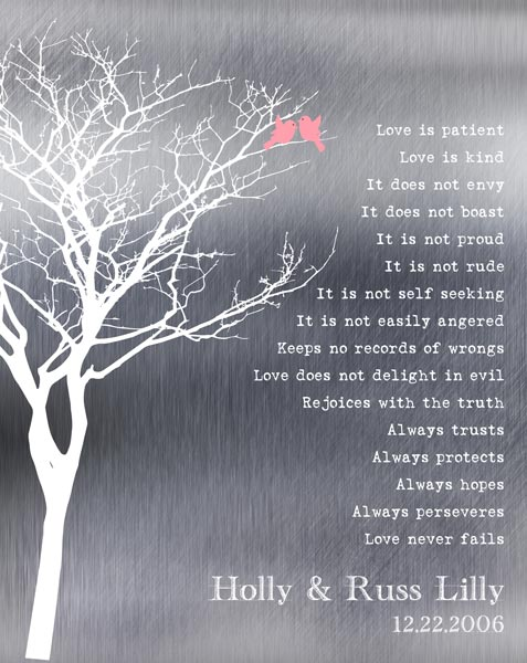 Ten Year Anniversary Bare Winter Trees Love Birds Gift – Personalized for Russell