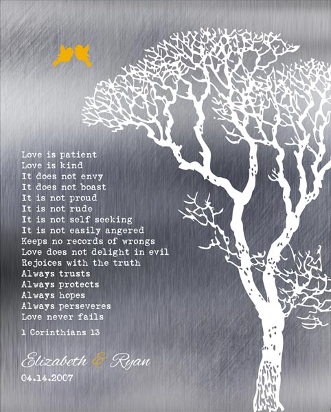 Bare Wedding Tree Shiny Faux Tin 1 Corinthians Love Is Patient Ten Year Anniversary Gift – Personalized For Ryan