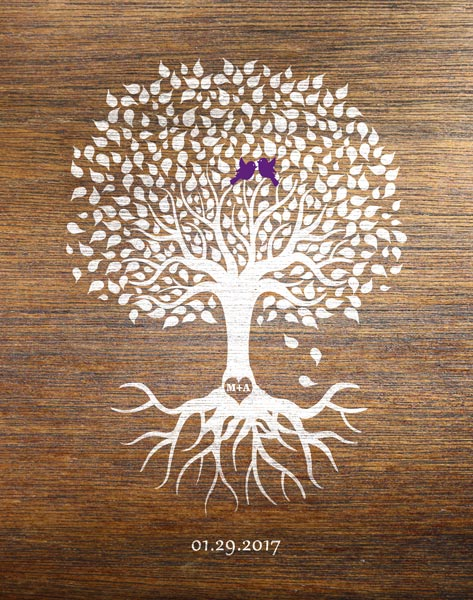 You are currently viewing Faux Wood Wedding Tree Anniversary Gift – Personalized for Mike & Amy