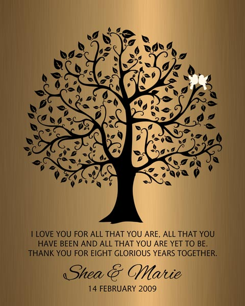 You are currently viewing Eight Year Anniversary Wedding Tree Faux Bronze Onyx Gift -Personalized for Shea
