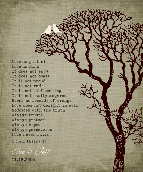 10 Year Anniversary Love Is Patient Bare Tree Winter Wedding Gift – Personalized for Susan