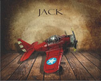 Red Airplane on Wood Table Vintage Background Personalized Aviation Art Print #TCH-1002