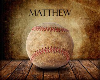 Baseball on Wood Table Vintage Background Personalized Sports Art Print #TCH-1004