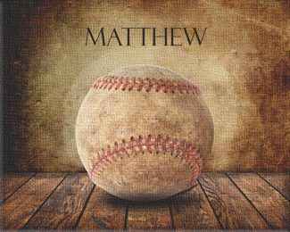 Baseball on Wood Table Vintage Background