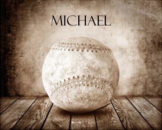 Baseball Sepia Faded on Wood Table Vintage Background Personalized Sports Art Print #TCH-1005