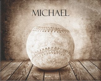 Baseball Sepia Faded on Wood Table