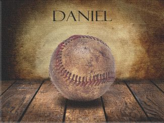 Baseball Vintage Warmth on Wood Table Vintage Background Personalized Sports Art Print #TCH-1006