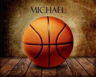 Basketball on Wood Table Vintage Background Personalized Sports Art Print #TCH-1007