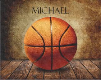 Basketball on Wood Table Vintage Background
