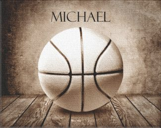Basketball Sepia Faded on Wood Table Vintage Background Personalized Sports Art Print For Childrens Room Boys Room Nursery Man Cave #TCH-1008