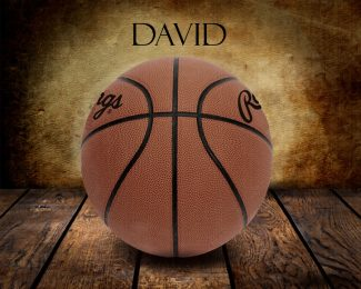 Basketball Vintage Warmth on Wood Table Vintage Background Personalized Sports Art Print #TCH-1009