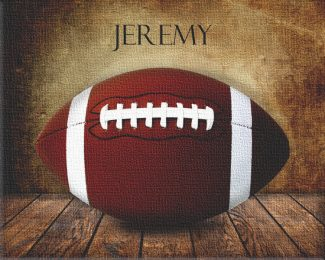 Football on Wood Table Vintage Background Personalized Sports Art Print #TCH-1015
