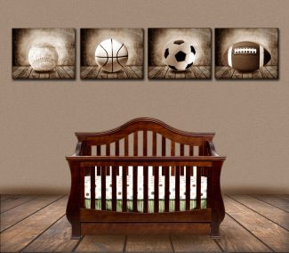 Football Sepia Faded on Wood Table Vintage Background Personalized Sports Art Print #TCH-1016