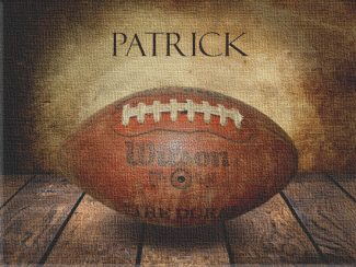 Football Vintage Warmth on Wood Table Vintage Background Personalized Sports Art Print #TCH-1017