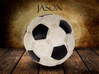 Soccer Ball Vintage Warmth on Wood Table Vintage Background Personalized Sports Art Print #TCH-1018