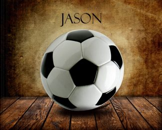 Soccer Ball on Wood Table Vintage Background Personalized Aviation Art Print #TCH-1019