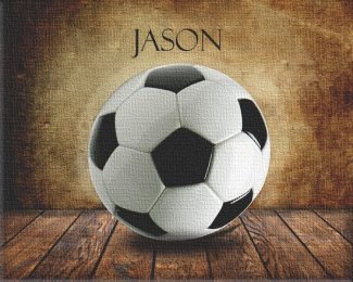Soccer Ball on Wood Table Vintage