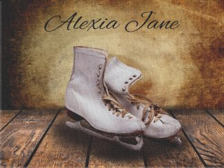 Ice Skates on Wood Table Vintage Background Personalized Skating Art Print For Childrens Room Girls Room Nursery #TCH-1022