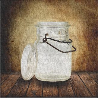 Mason Ball Canning Jar on Wood Table Vintage Background Personalized Kitchen Art Print #TCH-1023