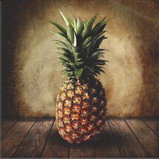 Pineapple on Wood Table Vintage Background Personalized Fruit Art Print #TCH-1024